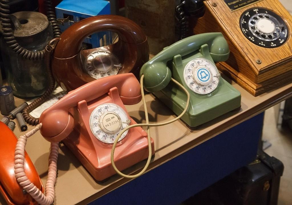 pastel vintage phones