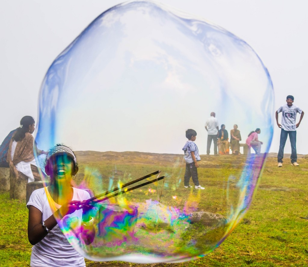 blowing a giant bubble