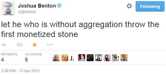 let he who is without aggregation throw the first monetized stone