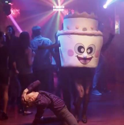 bizarre dancing cartoon cake