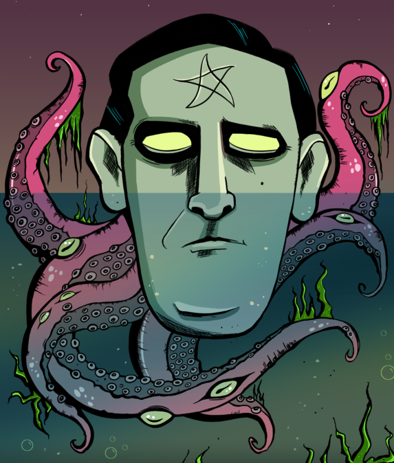 floating HP Lovecraft with tentacles