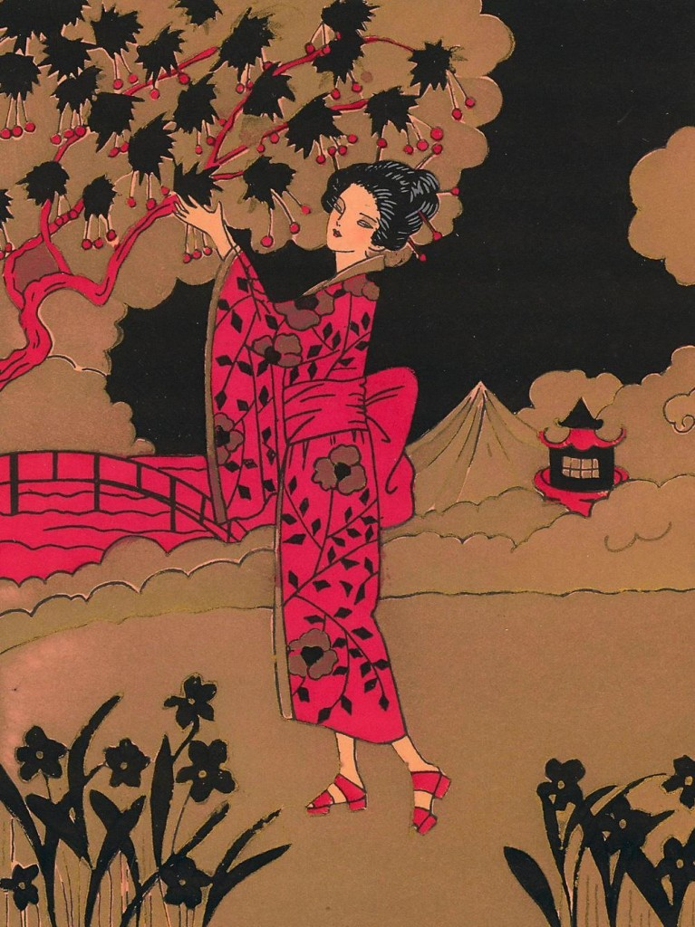 Art Deco Pochoir of Woman with Cherry Tree