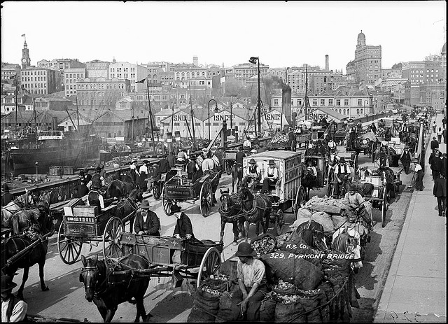 Traffic on Pyrmont Bridge in Sydney, Australia. Photo via Powerhouse Museum.