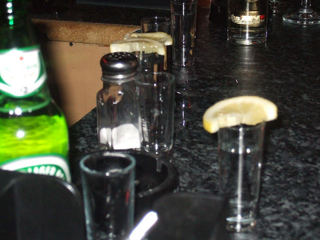 blurry tequila shots