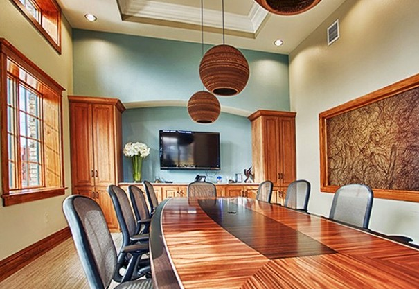 A rosewood-and-ebony conference table designed and built by Paul Downs Cabinetmakers.