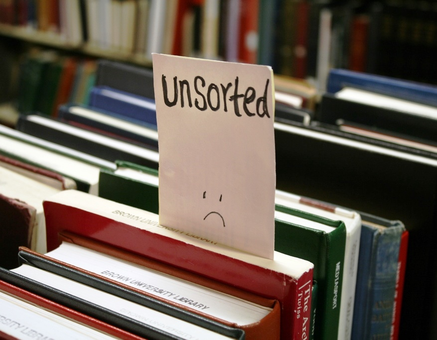 Unsorted books make librarians sad