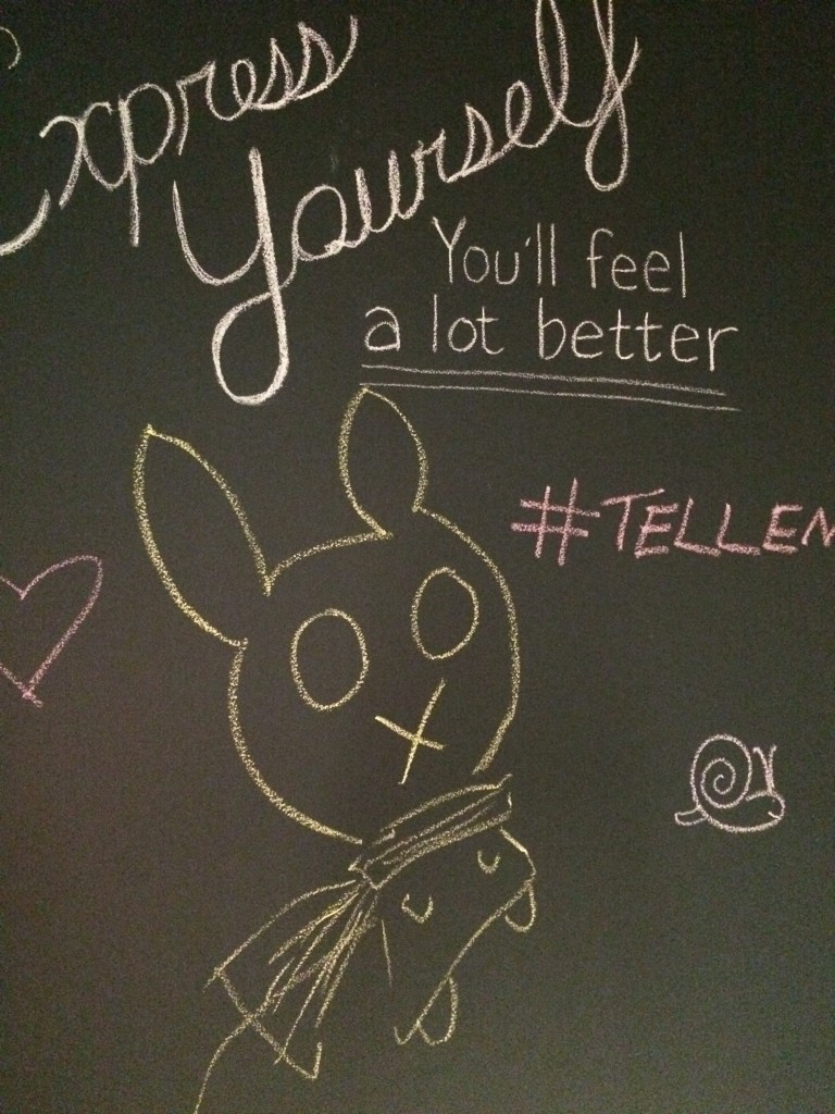 chalkboard drawing of a bunny