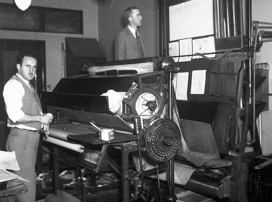 1930s printing press. Photo via the Seattle Municipal Archives.