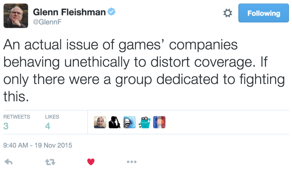 Glenn Fleishman taking a shot at GamerGate -- admittedly funny -- but also demonstrating the attitude I find totally wrongheaded.