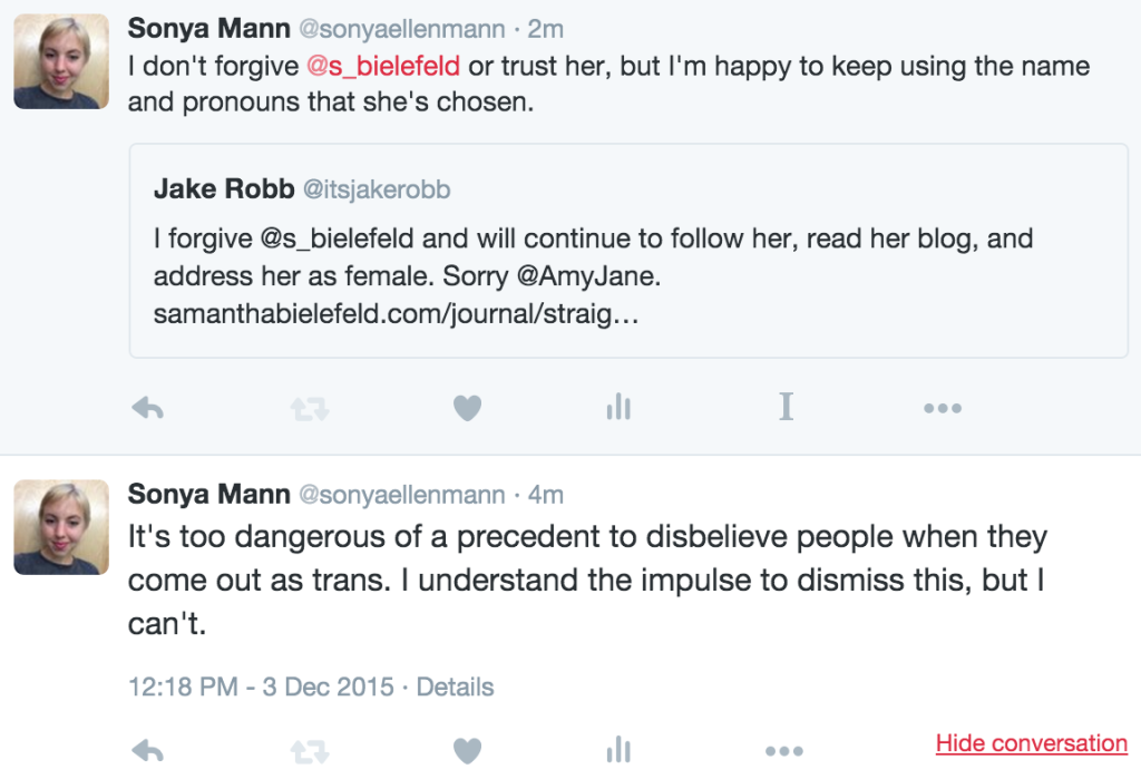 Commentary on Samantha Bielefeld coming out as trans.