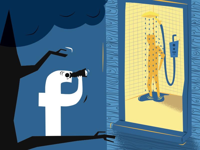 Facebook versus privacy -- illustration by Alex Strange.