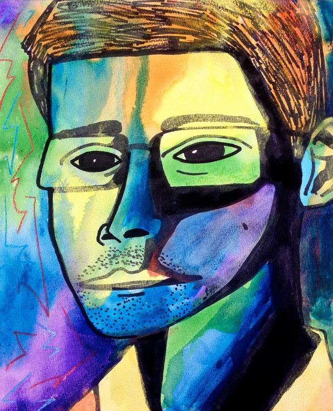 Portrait of Edward Snowden by John Meyer of The Spilt Ink; $130.79 on Etsy.