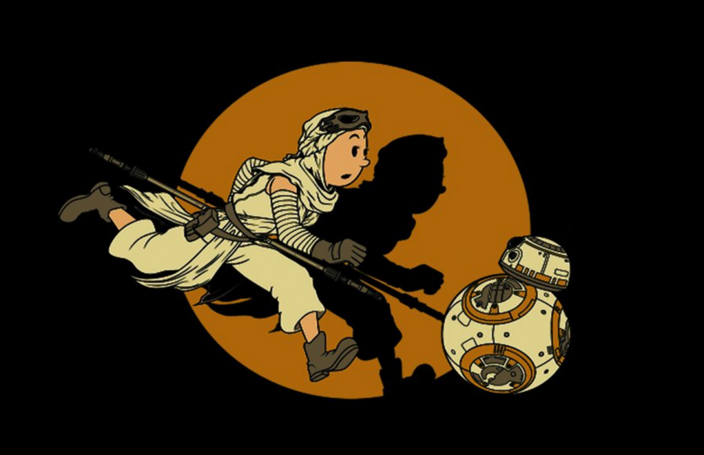 A mashup of Tintin and Rey from Star Wars: The Force Awakens. Artwork by Graphix17.