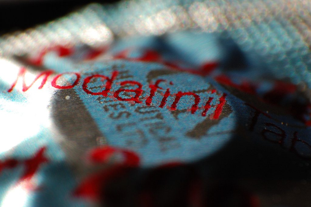 A single modafinil tablet in a blister pack. Photo by Geoff Greer.