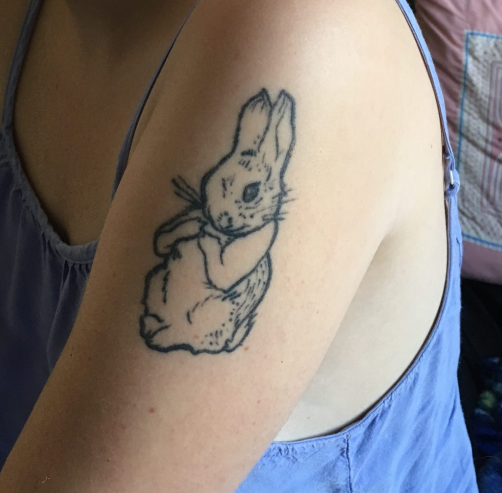 In the style of Beatrix Potter, drawn and tattooed by Stevie Varin.